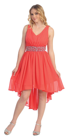V Neckline High Low Coral Winter Formal Dress Rhinestone Empire Waist