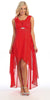 Chiffon High Low Red Bridesmaid Dress Modest Wide Strap
