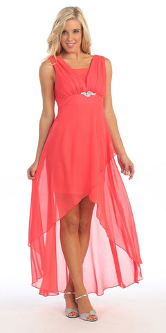 Chiffon High Low Coral Bridesmaid Dress Modest Wide Strap