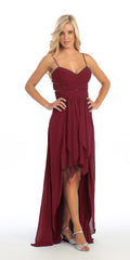 Chiffon High Low Burgundy Dress Spaghetti Straps Peek A Boo Slits