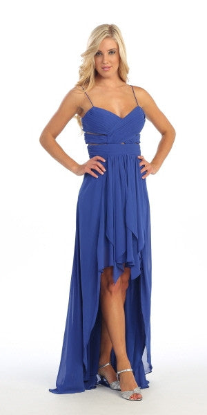 Chiffon High Low Royal Blue Dress Spaghetti Straps Peek A Boo Slits