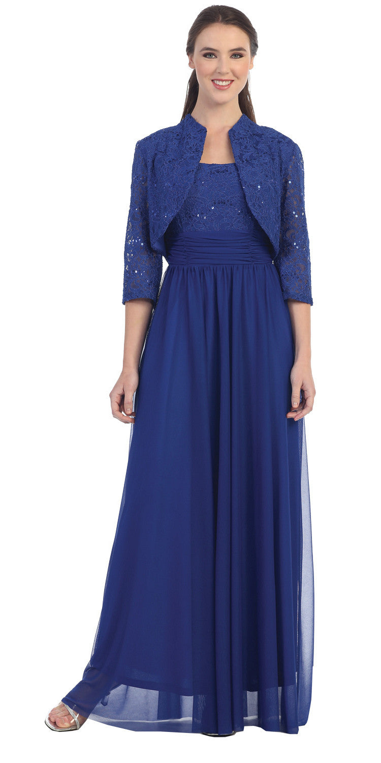 Chiffon Long Evening Dress Royal Blue Lace Bolero Jacket