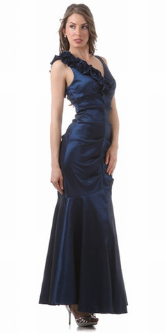 Cheap Long Prom Dress Royal Blue One Shoulder Jersey Stretchy Dress Sexy