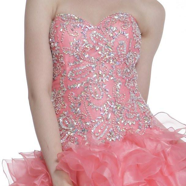 Cinderella Divine 6963 Corset Back Beaded Bodice Strapless Quinceanera Dress Coral