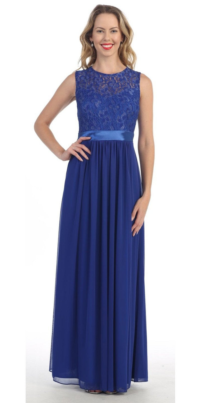 3f39ae69a7 Long Sleeveless Royal Blue Semi Formal Dress Lace Top Chiffon Skirt. Tap to  expand