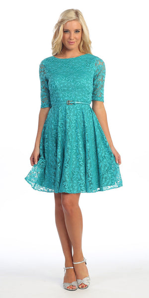 Cute and Casual Emerald Lace Dress Short Removable Belt Mid Sleeves