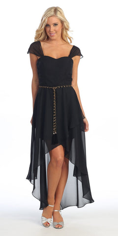 Cute High Low Black Semi Formal Dress Cap Sleeves Detachable Belt