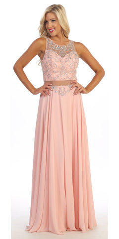 Column Blush Formal Dress Full Length Tank Straps Beading Bodice