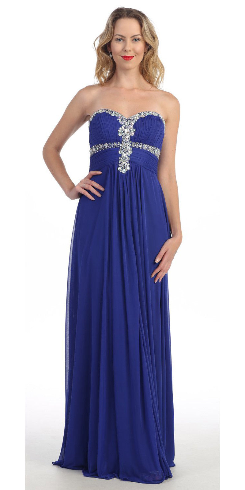 Royal Blue Formal Gown Chiffon Long Empire Waist Rhinestone Bodice