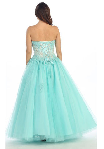 Corset Bodice Strapless A Line Aqua Long Ball Gown
