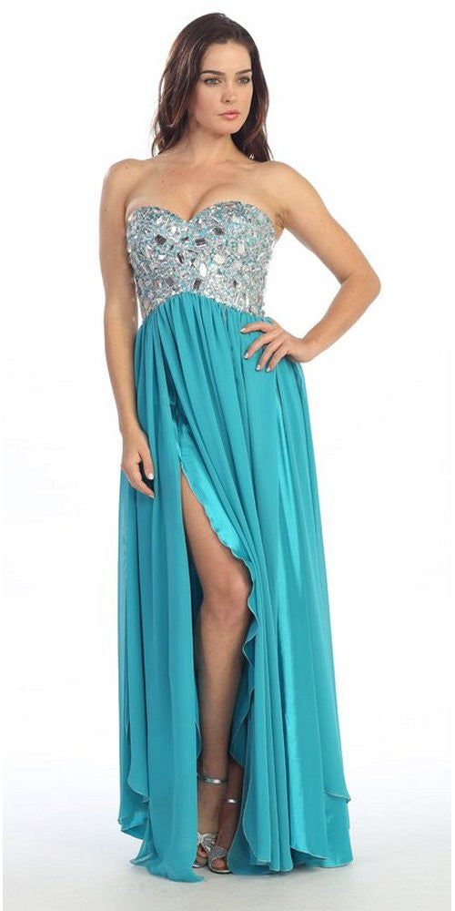 Corset Bodice Strapless Thigh Slit Turquoise Long Prom Gown