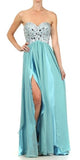 Corset Bodice Strapless Thigh Slit Mint Long Prom Gown