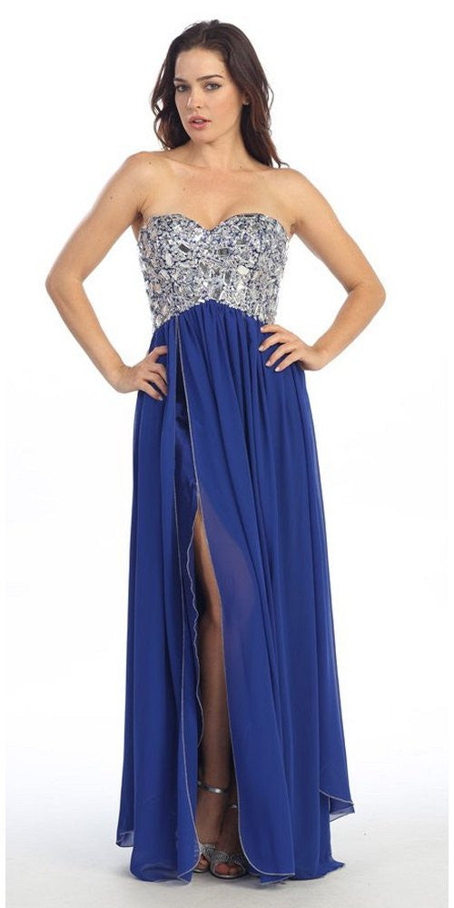 Corset Bodice Strapless Thigh Slit Royal Blue Long Prom Gown