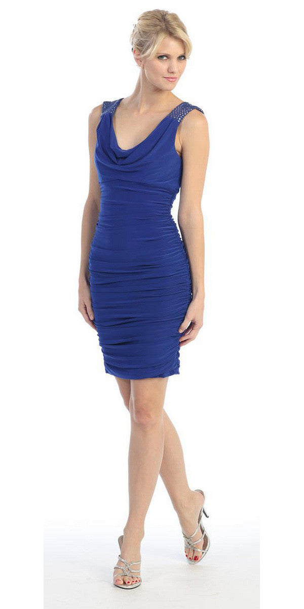 Cowl Neck Sleeveless Short Royal Blue Sheath Cocktail Dress