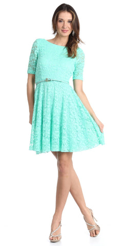 Cute and Casual Aqua Lace Dress Short Removable Belt Mid Sleeves