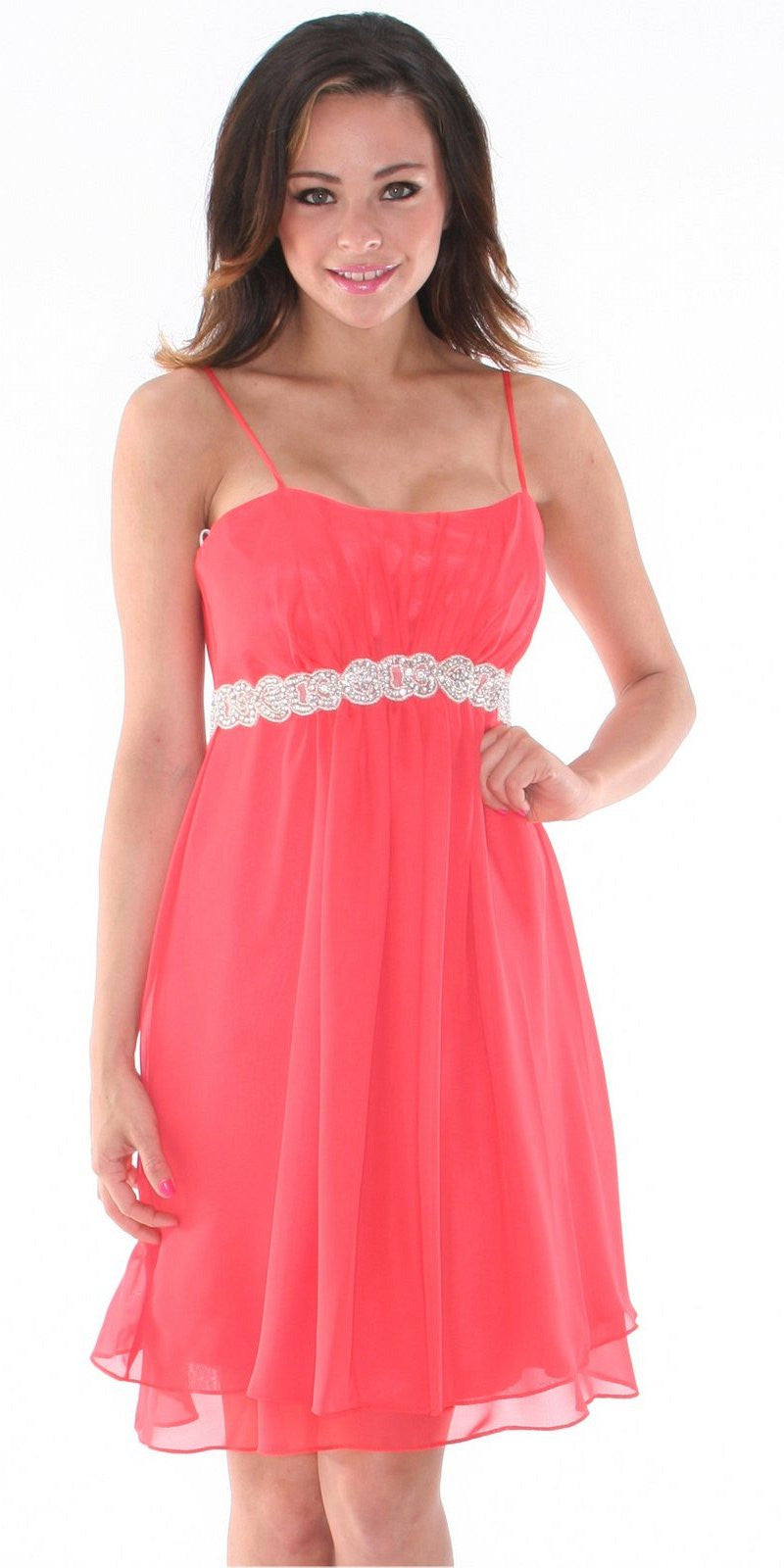 Short Knee Length Coral Chiffon Dress Empire Waist Spaghetti Straps
