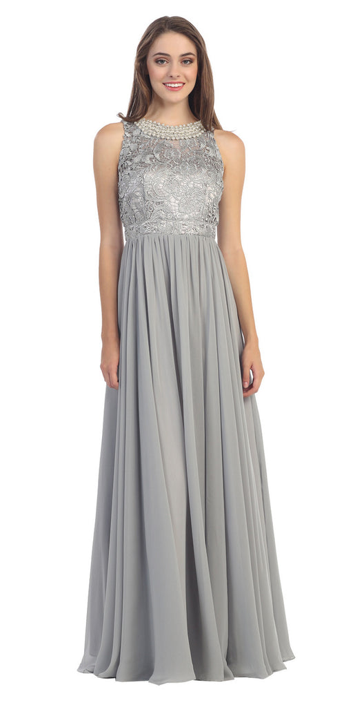 Empire Waist Chiffon Evening Gown Silver A Line Full Length