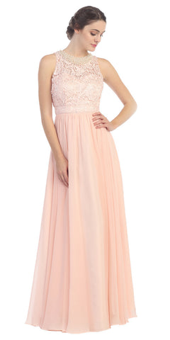 Empire Waist Chiffon Evening Gown Peach A Line Full Length