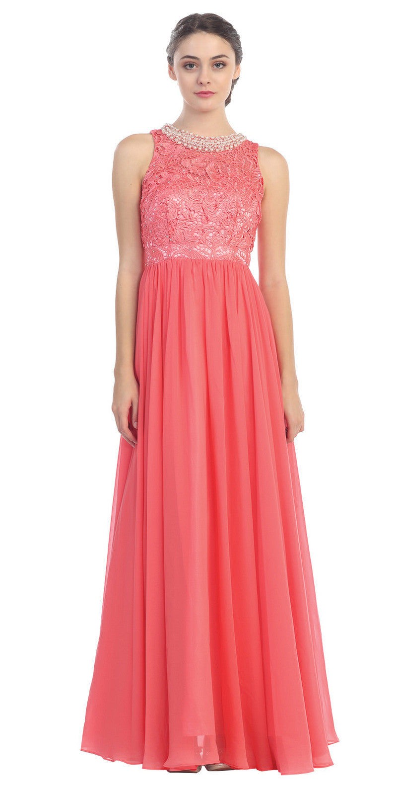 Empire Waist Chiffon Evening Gown Coral A Line Full Length