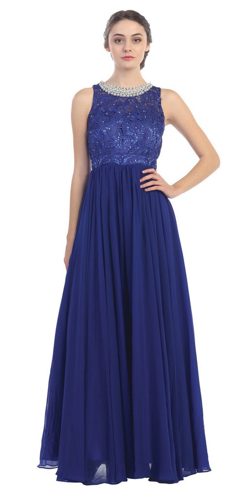 Empire Waist Chiffon Evening Gown Royal Blue A Line Full Length