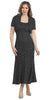 Flared Scoop Neck Black Tea Length Concert Dress