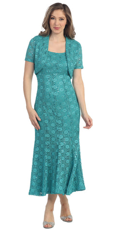 Flared Scoop Neck Sage Green Tea Length Concert Dress