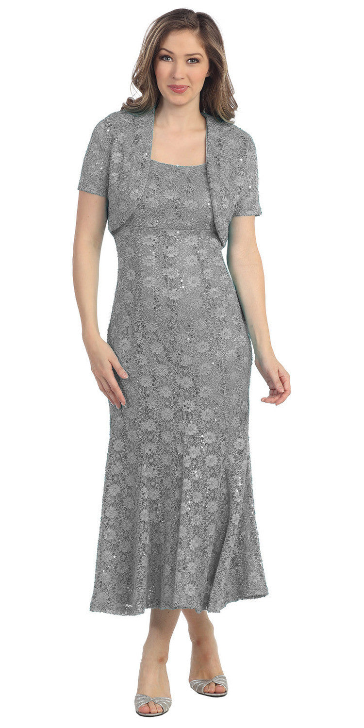 Flared Scoop Neck Charcoal/Silver Tea Length Concert Dress