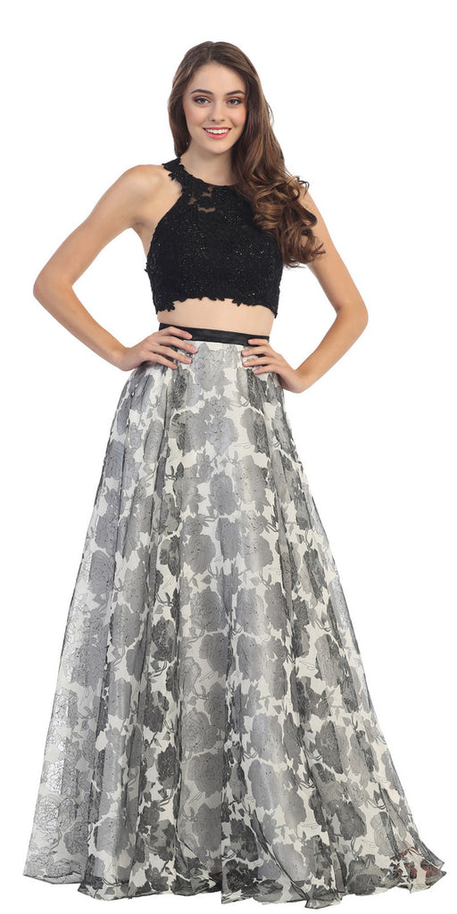 Floor Length 2 Piece Lace Top Dress Black White Lining Flower Print