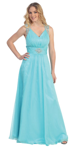 Floor Length A Line Aqua Prom Dress Empire See Through Illusion Back