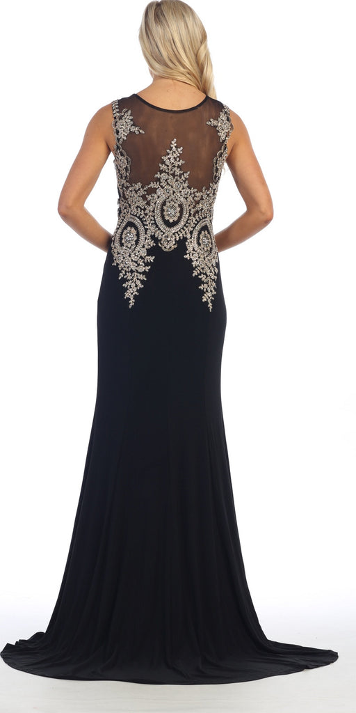 Floor Length Jersey Prom Gown Sleeveless Black Embroidery