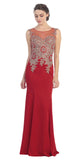 Floor Length Jersey Prom Gown Sleeveless Red Embroidery