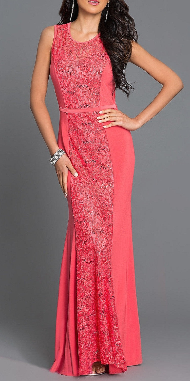 Floor Length Sleeveless Lace/Jersey Dress Coral Scoop