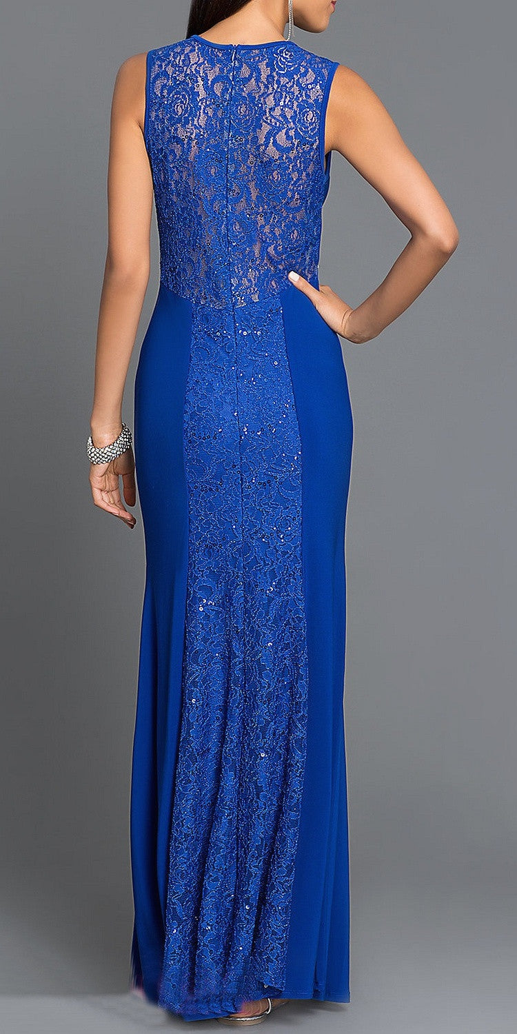 Floor Length Sleeveless Lace/Jersey Dress Royal Blue Scoop