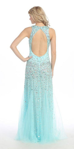 Floor Length Studded Sleeveless Mint Pageant Dress