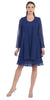Sally Fashion 8694 Flowy Chiffon Royal Blue Dress Knee Length Long Sleeve Cardigan