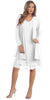 Sally Fashion 8694 Flowy Chiffon White Dress Knee Length Long Sleeve Cardigan
