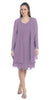Sally Fashion 8694 Flowy Chiffon Lilac Dress Knee Length Long Sleeve Cardigan