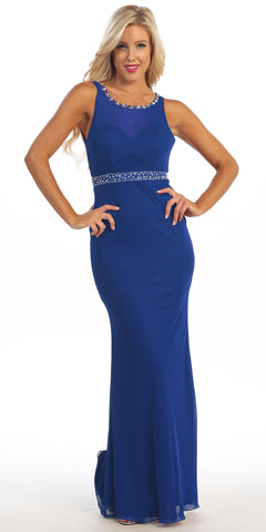 Full Length Sheath Dress Royal Blue Tight Fit Sleeveless Sheer Bodice