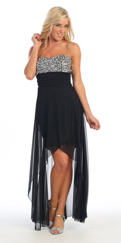 Black/White Semi Formal Long Dress Chiffon Sequin/Rhinestone Strapless