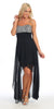 Homecoming High Low Chiffon Dress Black/White Strapless Jewels Beads