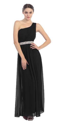 Grecian Inspired Black Chiffon Gown Long One Shoulder