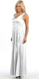 Greek One Shoulder Dress White Pleated Empire Rhinestones