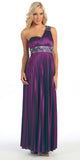 Greek One Shoulder Dress Plum Pleated Empire Rhinestones