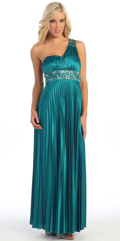 Greek One Shoulder Dress Teal Pleated Empire Rhinestones