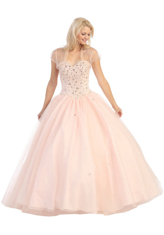 Long Studded Corset Bodice Blush Cotillion Ball Gown