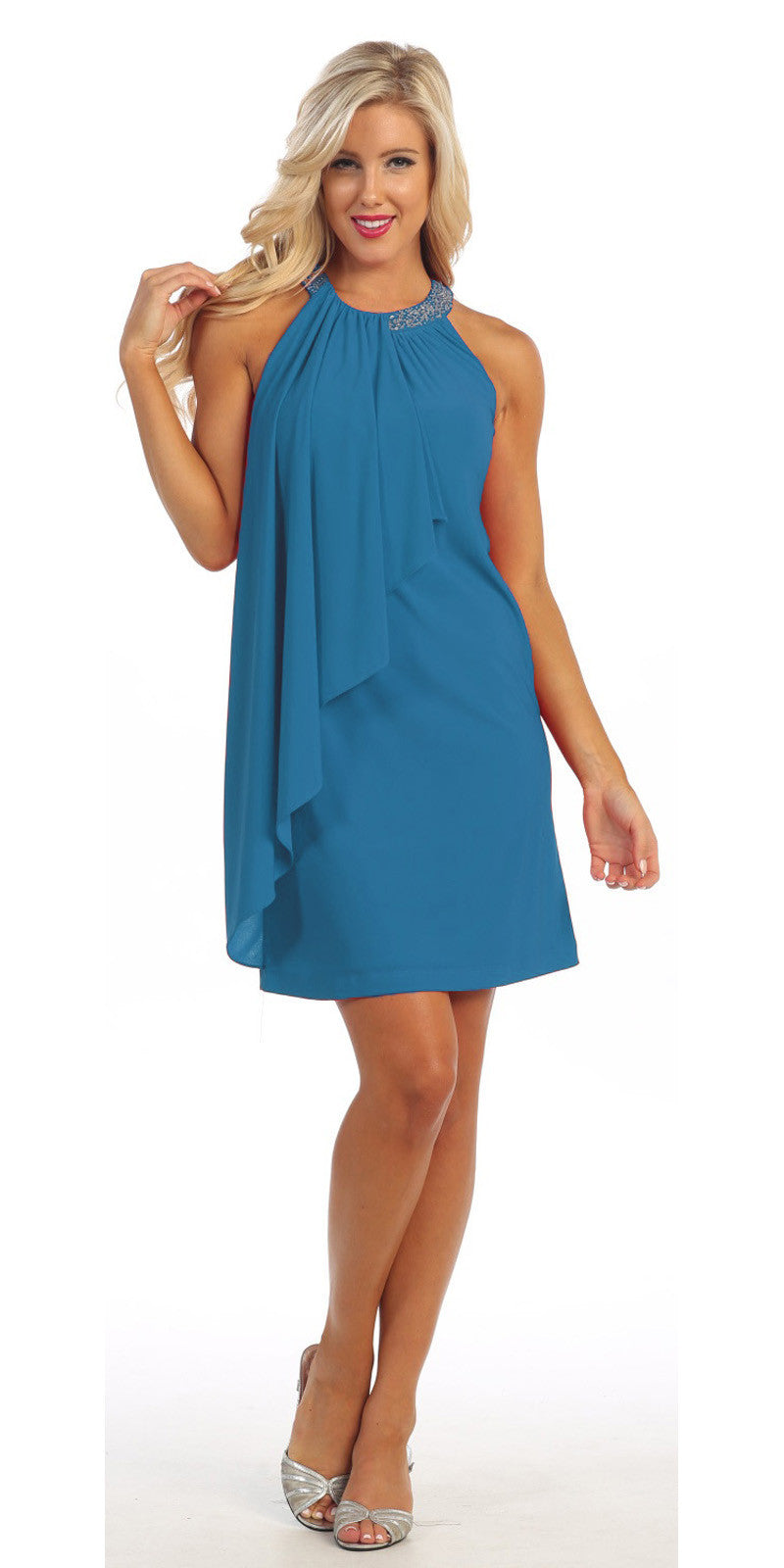 Halter Cocktail Dress Teal Short Rhinestone Neckline Draped