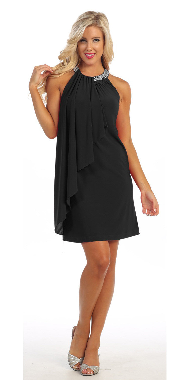 Halter Cocktail Dress Black Short Rhinestone Neckline Draped