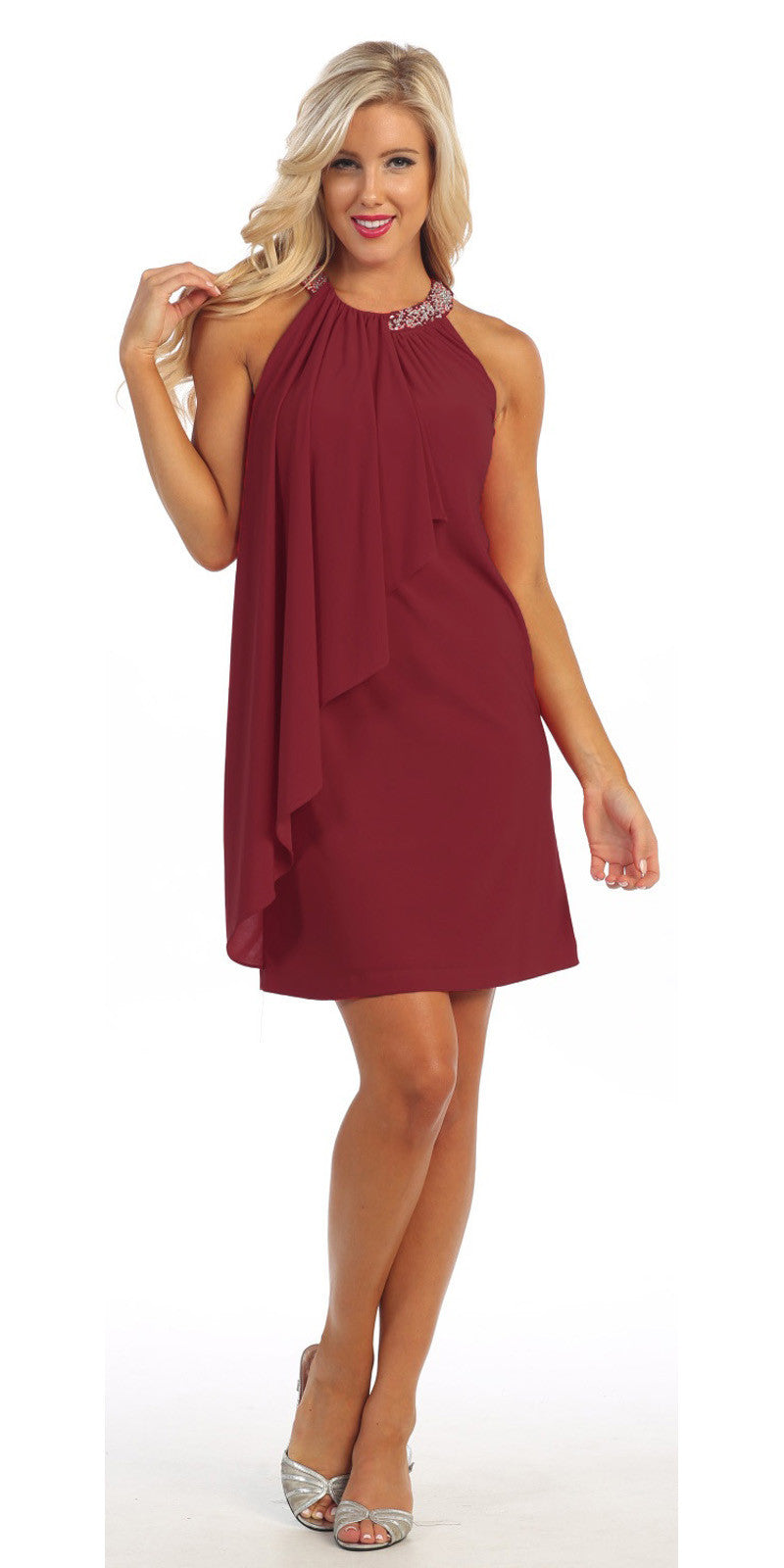 Halter Cocktail Dress Burgundy Short Rhinestone Neckline Draped