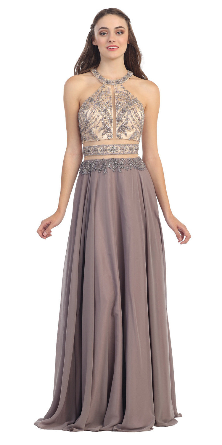 Halter Prom Gown Victorian Lilac A Line Chiffon Nude Mesh