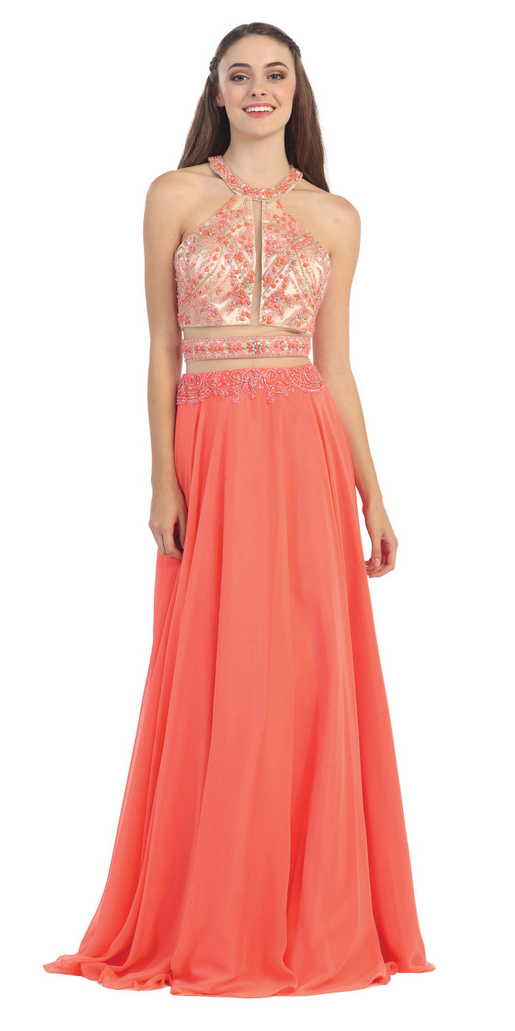 Halter Prom Gown Coral A Line Chiffon Nude Mesh